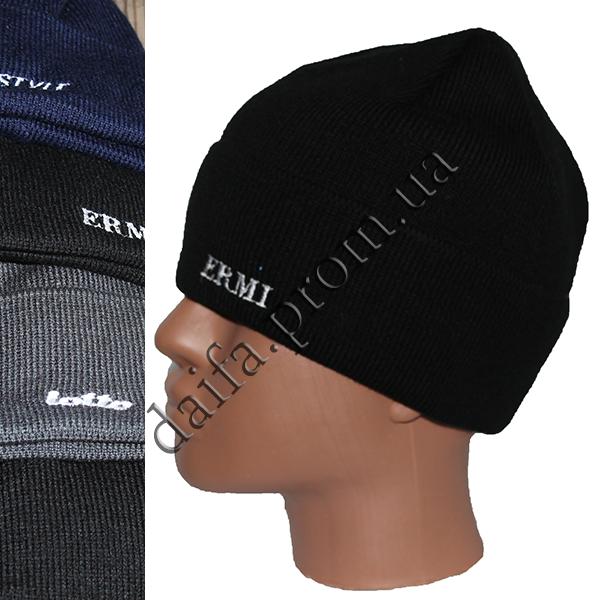 купить мужская вязаная шапка на флисе с отворотом W17 оптом в одессе