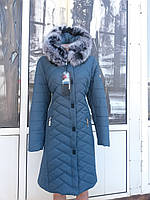 Зимнее женское приталенное куртка  пальто с натуральным мехом мелированого песца