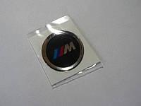 Наклейка s круглая BMW 3M 20х20х1.2мм черный с ободком силиконовая эмблема логотип марка бренд на авто 3М БМВ