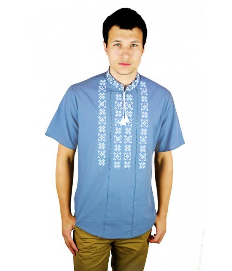 Сорочка світло-блакитна. Чоловіча вишиванка. Вишиванки. Вишиті сорочки. a0496bd9c3a83