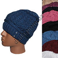 Женская двойная вязаная шапка W202 оптом в Одессе.