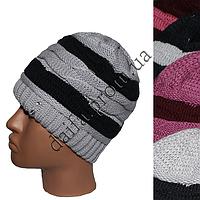 Женская двойная вязаная шапка W204 оптом в Одессе.