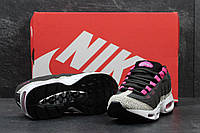 Nike Air Max 95 кроссовки черные с серым (Реплика ААА+), фото 1