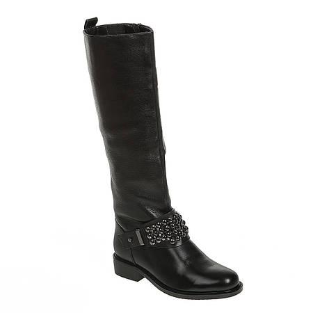 Сапоги женские Reuchll (кожаные, черные, оригинальный декор, стильные)