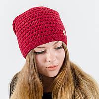 """Вязаная женская шапка, """"Эдем"""" (Бордовый)"""