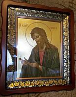 Икона писаная Иоанна Предтечи в фигурном киоте