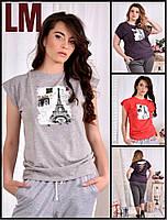 От 42 по 74 размер Красивая женская футболка 770557 из качественного трикотажа летняя повседневная стрейчевая