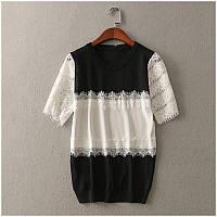 Блузка с гипюром черно-белая