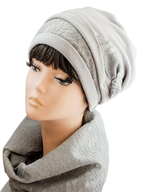 Комплект шапка-берет гипюр-бант + шарф-снуд
