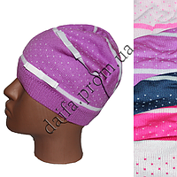 Вязаная шапка для девочек W402 (5- 8 лет) оптом в Одессе.