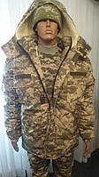 Комплект армійський світлий піксель утеплений (ВСУ), бушлат на эвроовчине + штани на флісовій підкладці., фото 1
