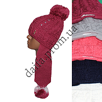 Вязаная шапка на флисе для девочек 5-9 лет W411 оптом в Одессе.