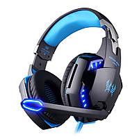 Наушники игровые Kotion Each G2000 с микрофоном и подсветкой, голубые