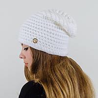 """Вязаная женская шапка, """"Эдем"""" (Белый)"""
