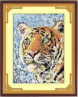 Картина из страз Dream Art Заснеженный Тигр (квадратные камни, полная зашивка) (DA-30311) 18 х 25 см