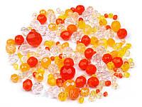 Бусины чешские граненные - желто оранжевый 50 гр., фото 1