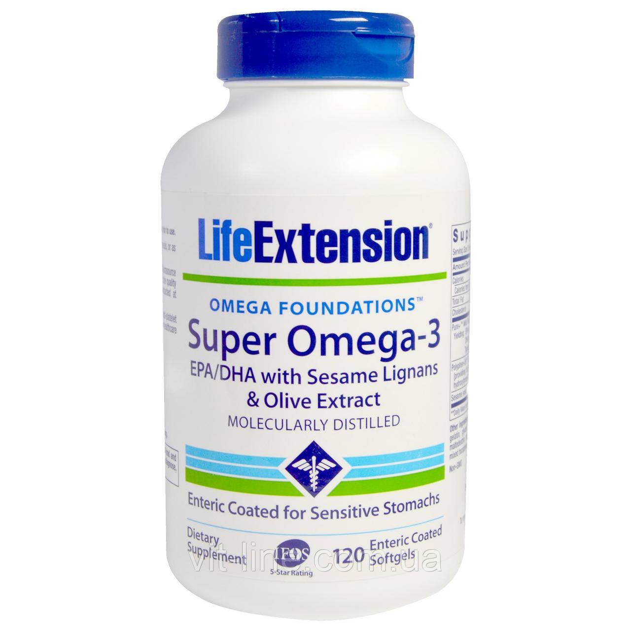 Life Extension, Omega Foundations, Super Omega-3, 120 покрытых кишечнорастворимой оболочкой жидких капсул