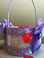 Свадебная корзинка для лепестков роз Wedding сиреневая, фото 1