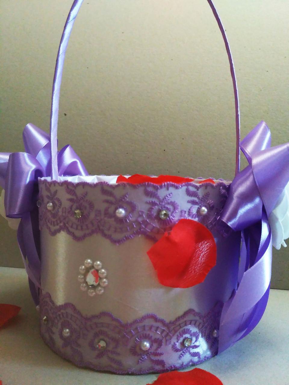 Свадебная корзинка для лепестков роз Wedding сиреневая
