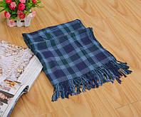 Стильный легкий женский шарф в клетку синего цвета