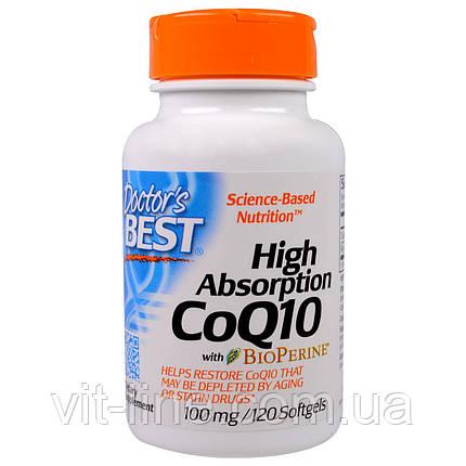 Doctor's Best, Коэнзим Q10 с высокой усваиваемостью, с биоперином, 100 мг, 120 капсул в мягкой оболо, фото 2