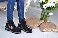 Женские ботинки из натурального натурального итальянского замша