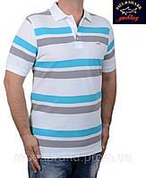 Футболка-поло мужская в полоску летняя Paul Shark-119 белая
