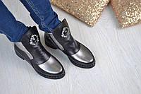 """Женские стильные ботинки из натурального натуральной итальянской кожи """"Chanel"""""""