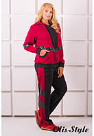 Спортивный женский бордовый костюм большого размера ЛЭССИ Olis-Style 54-64 размеры