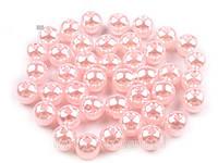 Бусины пластмассовые под жемчуг - розовый 8 мм (10гр)