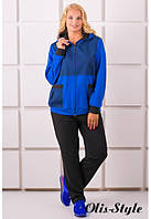 Женский костюм большого размера ЛАКРИ электрик Olis-Style 54-64 размеры