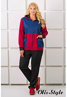 Женский бордовый костюм большого размера ЛАКРИ Olis-Style 54-64 размеры