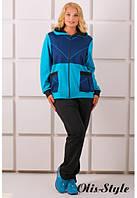 Женский бирюзовый костюм большого размера ЛАКРИ Olis-Style 54-64 размеры