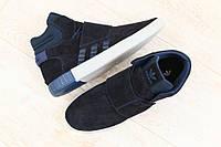 Высокие кроссовки мужские замшевые синие Adidas