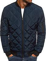 Мужская осенняя куртка ромб синяя 022