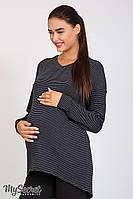 Оригинальная туника для беременных Rioni, антрацитовая полоска на сером