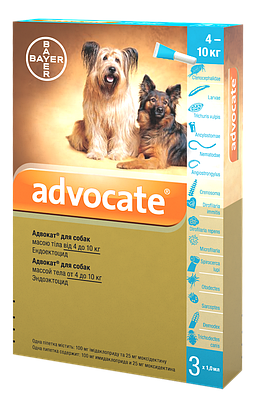 Капли на холку Адвокат для собак от 4 до 10 кг