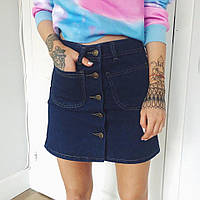 Юбка джинс впереди на пуговицах с карманами