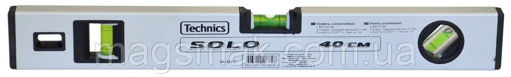 Уровень алюминиевый Solo, с магнитом, 3 глазка 200 см