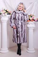 Шуба женская из искусственного меха №130 серый паркет