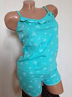 Пижама женская, домашний комплект: маечка+шорты, размеры 42-50 . Разные цвета.