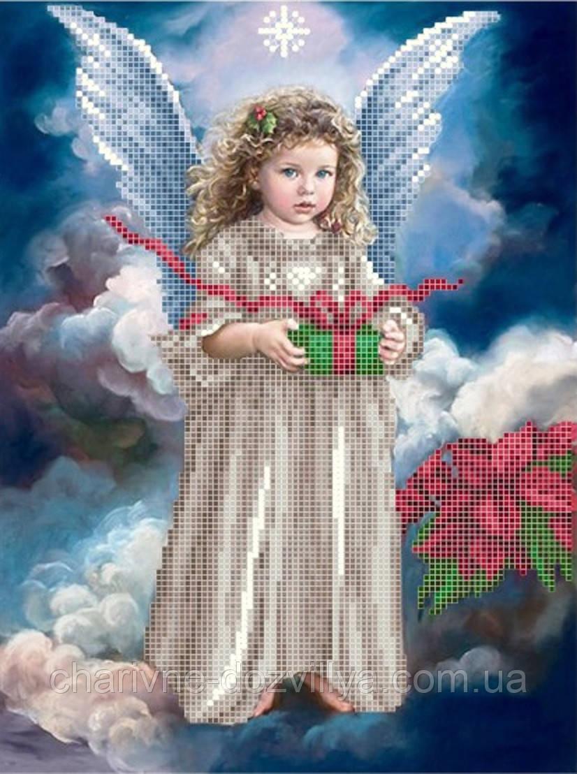 """Схема для вышивки бисером на атласе """"Ангелок с подарком"""""""