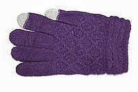 Женские сенсорные перчатки Вязка Фиолетовые
