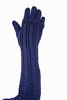 Женские перчатки стрейч  длинные+митенка Синие