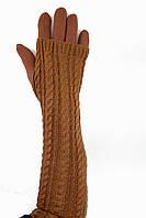 Женские перчатки стрейч  длинные+митенка Рыжие