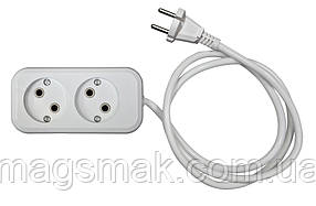 Удлинитель электрический АБС, б/з, 2,2 кВт (10А), 0,75мм 2 гнезда, 2 м