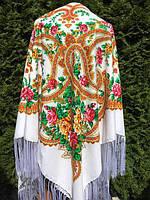 Хустина біла з орнаментом квітів 150*150 см