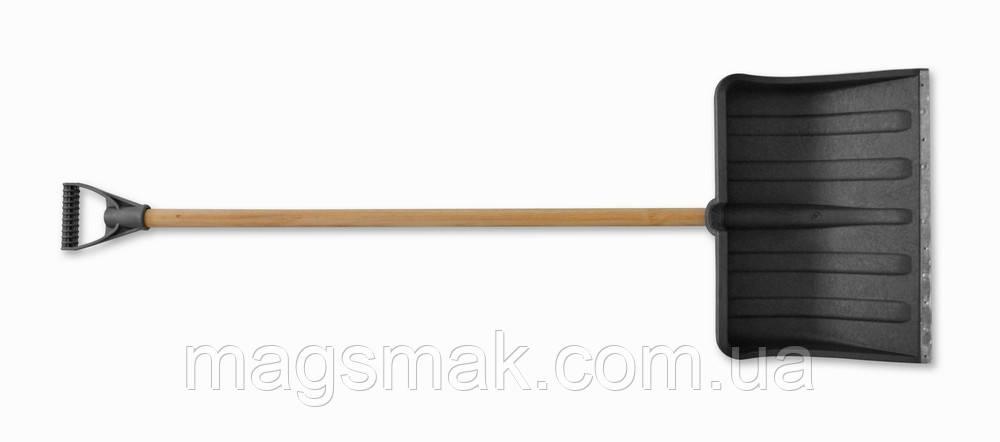 Лопата для снега пластиковая, с металлической планкой, Украина 320х420 мм, малая