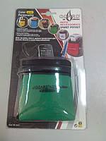 Автомобильная подставка карман под телефон АК0201 ткань зеленая