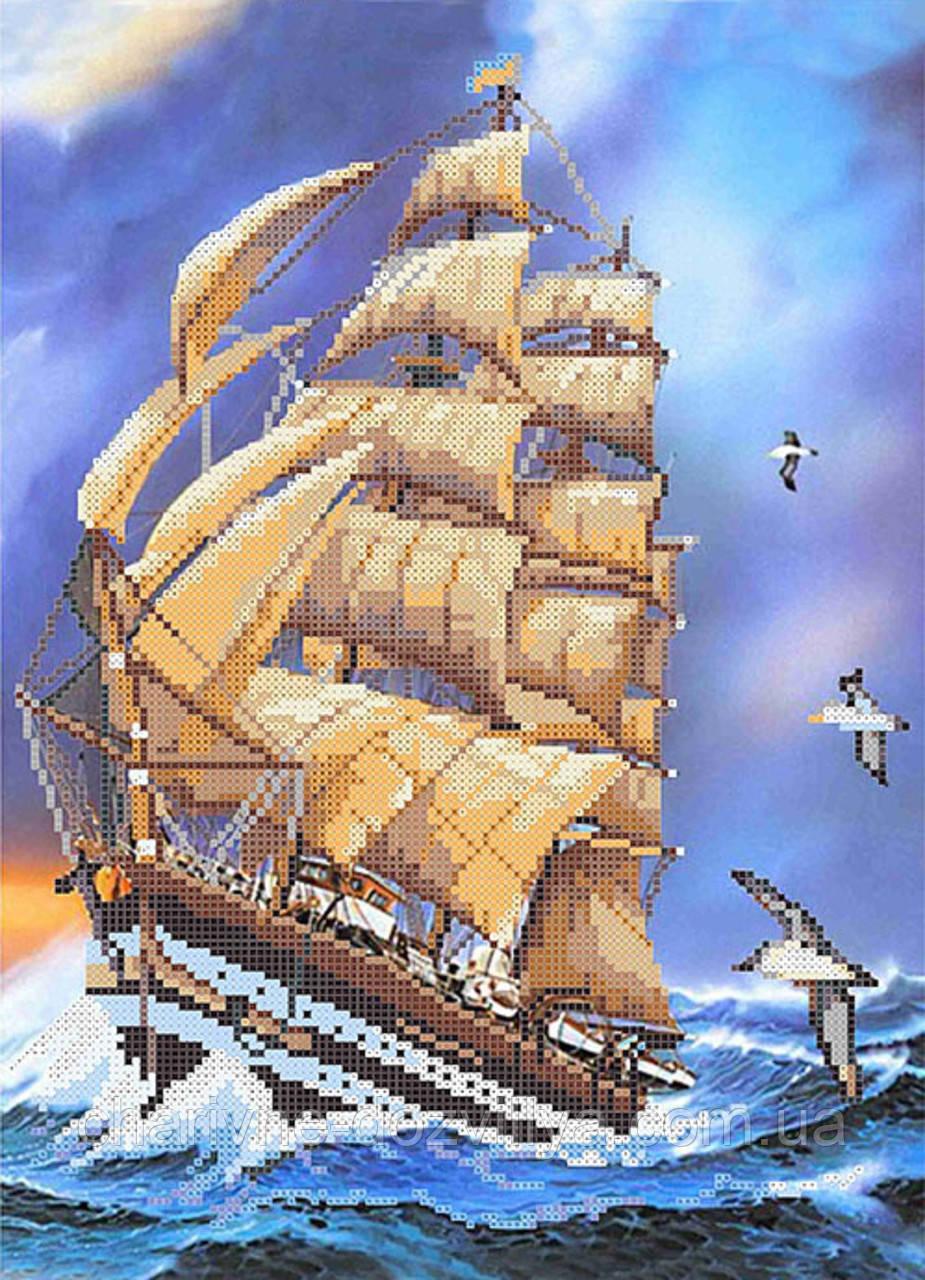 """Схема для вышивки бисером на атласе """"Корабль гармонии"""""""